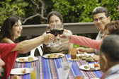 Brindando à mesa de jantar — Foto Stock