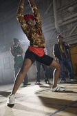 African woman breakdancing — Stock Photo