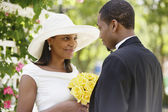 Bride and groom during wedding ceremony — Stock Photo