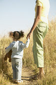 Mother and daughter standing in field — Stock Photo