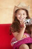 Portrait of girl taking picture — Stock Photo