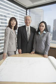 Ledande asiatiska affärsman och affärskvinnor titta på ritningar — Stockfoto