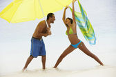 South American couple at beach — Stock Photo
