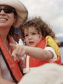 Mother and young daughter wearing life-jackets — Stock Photo