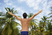 South American man with arms raised — Stock Photo