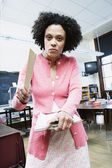 Portrait of angry teacher with ruler — Stock Photo