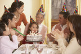 Family birthday party for Hispanic girl — Stock Photo
