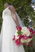 Lage hoekmening van jonge bruid — Stockfoto