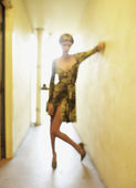 Blurred shot of woman in hallway — Stock Photo