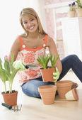 Hispanic woman potting plants — Stock Photo