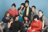 Portrait of multi-ethnic funky young adults — Stock Photo