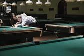 Couple playing pool — Stock Photo
