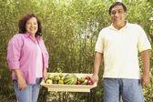 Hispanic couple carrying tray of fruit outdoors — Stock Photo