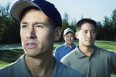 Close up of three male golfers — Stock Photo