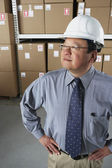Middle-aged Asian businessman wearing hard hat in warehouse — Stock Photo