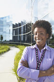Businesswoman posing outside for camera — Stock Photo