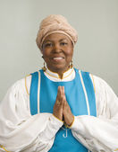 African woman wearing church choir gown — Stock Photo
