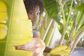 Portrait of woman in banana tree holding bananas — Stock Photo