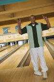 Portrait of man at bowling alley — Stock Photo