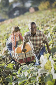 Two boys pulling wagon through pumpkin patch — 图库照片