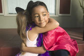 Young boy and girl hugging — Stock Photo