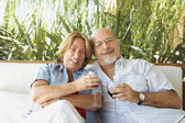 şarap içme kıdemli i̇spanyol çift — Stok fotoğraf