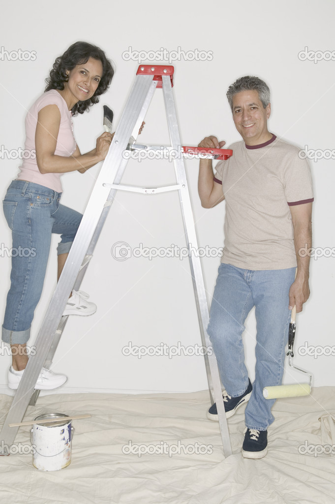 Portrait of couple painting  Stock Photo #13220757