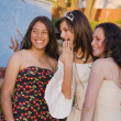 Hispanic girl and friends at Quinceanera — Stockfoto