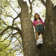 Young girl smiling in tree — Stock Photo