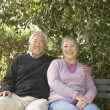 Senior Asian couple sitting on a park bench hugging - Stock Photo
