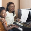 Stock Photo: Africmother helping daughter with piano lessons
