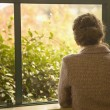 Rear view of woman looking out window — Foto Stock