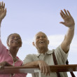 Couple waving goodbye - Stock Photo