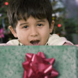 Hispanic boy holding Christmas gift — Stock Photo