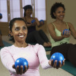 Multi-ethnic women in exercise class — Stok fotoğraf