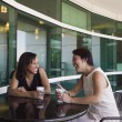 Two women drinking coffee - Foto Stock
