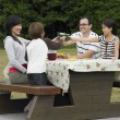 Stock Photo: Multi-ethnic family eating at picnic table