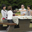 Multi-ethnic family eating at picnic table - Stock Photo