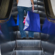 Woman on escalator with shopping bags - Stock Photo