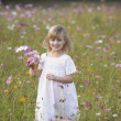 Girl in field of flowers with bouquet — Stock Photo