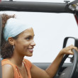 Stock Photo: Young womdriving Jeep