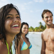 South American friends at beach — Stock Photo #13232039