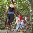 Stock Photo: Hispanic womand children exploring woods