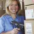 Стоковое фото: Female warehouse worker with barcode scanner