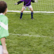 Two girls playing soccer - Stockfoto