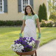 Portrait of woman with wheelbarrow full of flowers — Stock Photo
