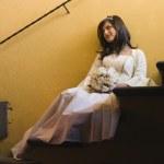 Hispanic girl in Quinceanera dress — Stock Photo