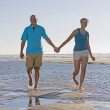 Portrait of couple holding hands at beach — Stock Photo