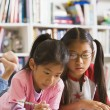 Asian sisters doing homework in library — Foto Stock