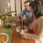 Couple eating dinner — Stock Photo